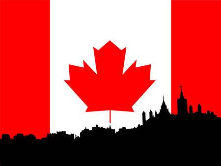 Ottawa skyline against Canadian Flag Vector