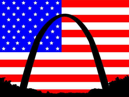 Gateway Arch St Louis against American Flag Vector