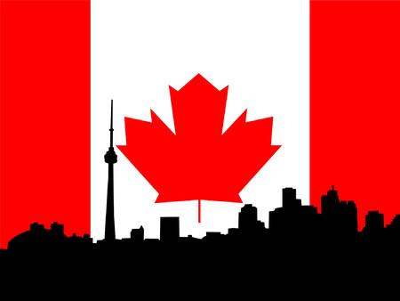 ontario: Skyline de Toronto contro la bandierina canadese