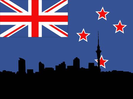 new zealand flag: Contro la skyline di Auckland Nuova Zelanda bandiera