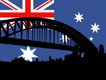 port: Sydney harbour bridge against Australian flag Illustration