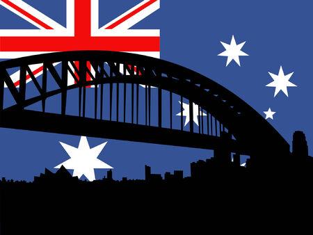 Sydney harbour bridge against Australian flag Vector Illustration