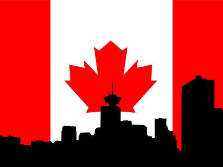 vancouver: Vancouver skyline against Canadian flag Illustration