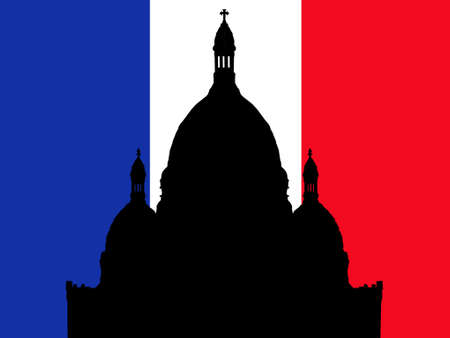 coeur: Sacre Coeur Montmartre and French Flag Illustration