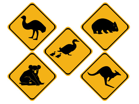 Australian wildlife road signs Illustration