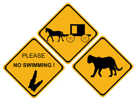 amish buggy: hazard sign puma alligator horse drawn Illustration