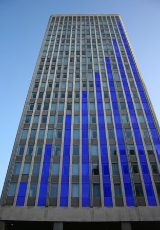 Blue skyscraper bar chart graph photo