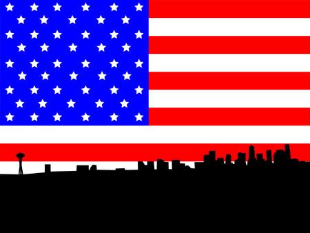 seattle skyline: Seattle skyline against American Flag Illustration