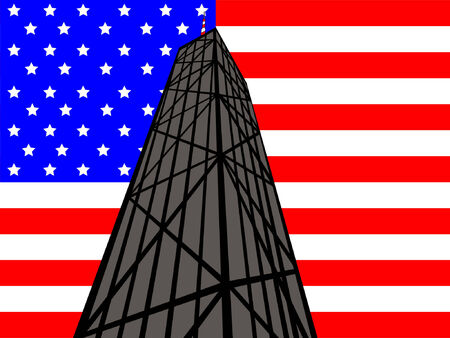 john: John Hancock Tower against American Flag