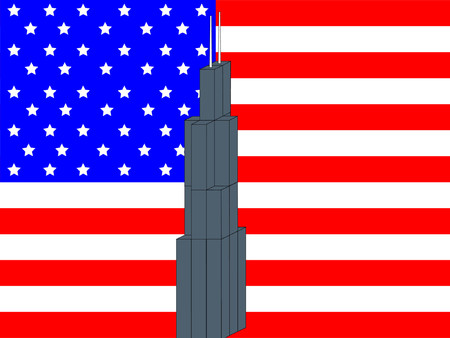 Sears Tower Chicago against American Flag