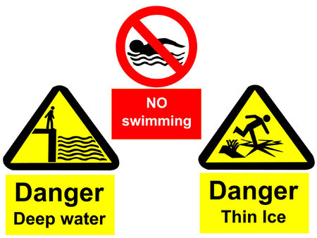 thin ice: Deep water no swimming and thin ice signs