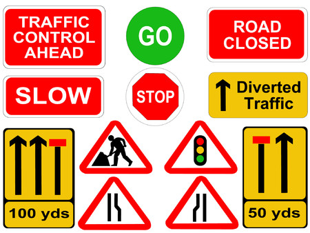 road closed: roadwork signs Illustration