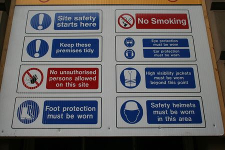 Construction site safety sign Stock Photo - 482167