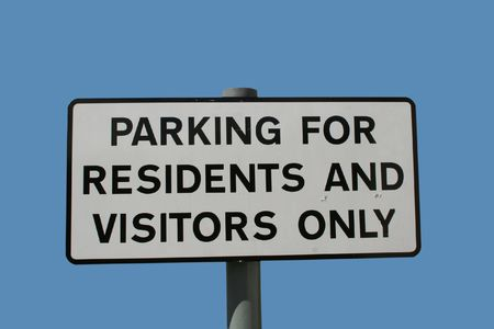 residents: Parking for residents and visitors only sign Stock Photo