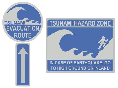 evacuation: Tsunami evacuation route and hazard zone signs