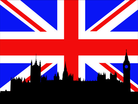 Palace of Westminster against British Flag Vector