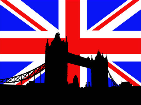 london tower bridge: Tower Bridge London against British Flag Illustration