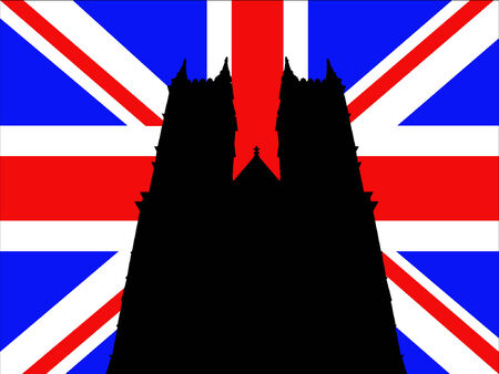 westminster abbey: Westminster Abbey London against British Flag