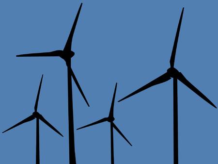 wind farm: Parque e�lico turbinas  Vectores