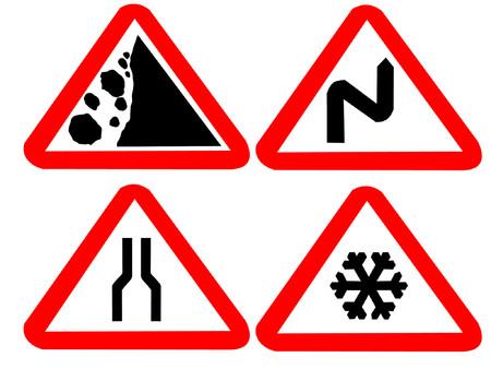 fallen rocks windy narrow icy road hazard signs Stock Vector - 487711