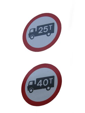 tonne: Truck weight limit signs Stock Photo