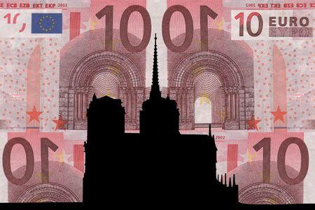 notre: Notre Dame against ten euro note collage