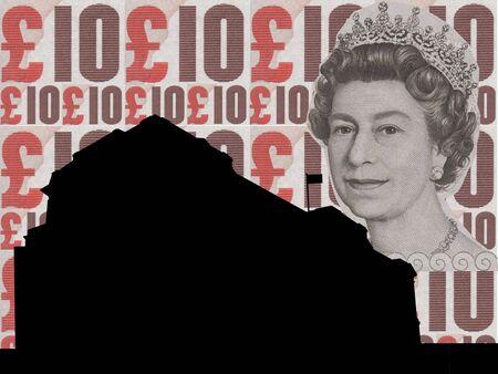 buckingham palace: Buckingham palace illustration against ten pound note collage