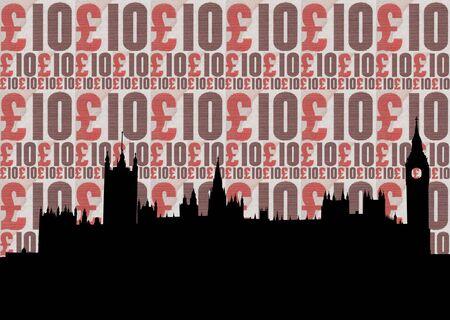 houses of parliament: Houses of parliament illustration against ten pound note collage