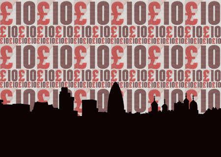 gherkin building: London skyline against ten pound note collage