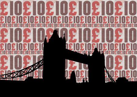 gherkin building: Tower bridge against ten pound note collage