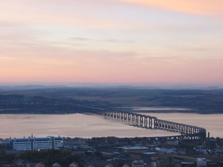 tay: Tay Rail Bridge at dawn from  Dundee Law Stock Photo
