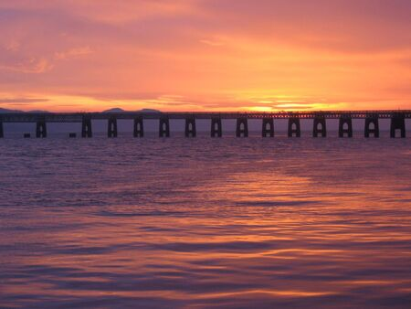 tay: Tay Rail bridge at dusk, Dundee, Scotland