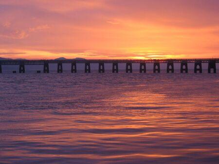 Tay Rail bridge at dusk, Dundee, Scotland