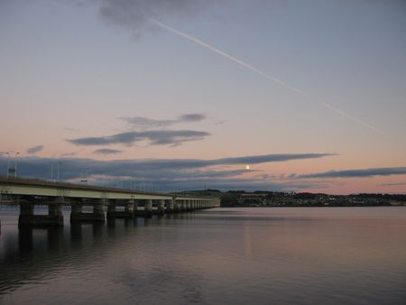 tay: Tay Road bridge at moonrise from Dundee