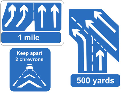 lanes: Motorway lanes merging and keep your distance signs