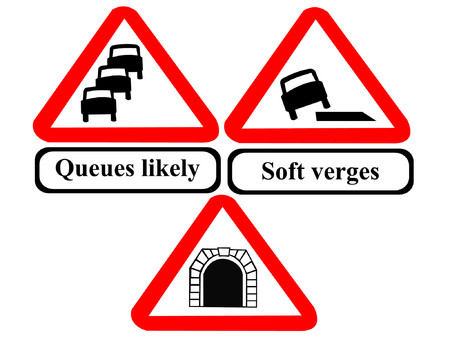 likely: Queues likely, soft verges road signs Illustration