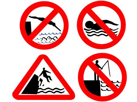 picada: No nadar buceo o la pesca signos Vectores