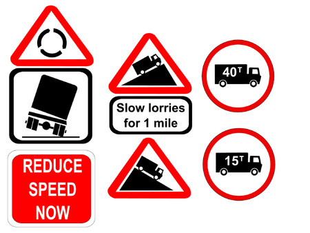 overturn: Truck reduce speed now and slow trucks signs