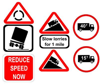 overturn: Truck ridurre la velocit� e ora lento camion segni