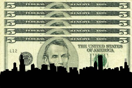 greenbacks: Chicago Skyline against five dollar bill