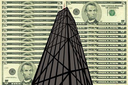 john: John Hancock Tower Chicago against five dollar bill