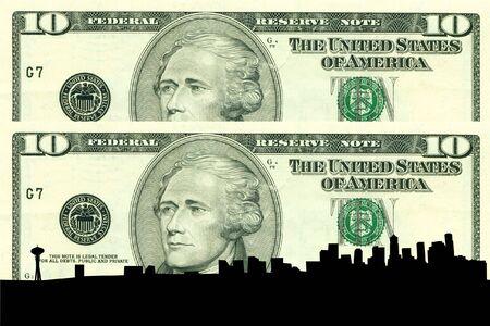 seattle skyline: Seattle Skyline against ten dollar bill Stock Photo