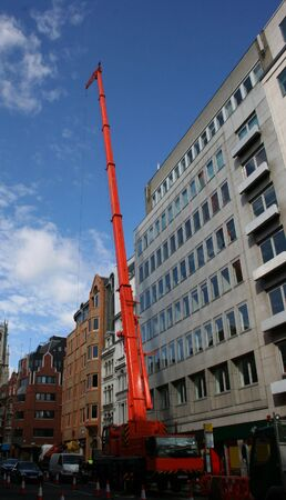 moveable: mobile crane in street Stock Photo