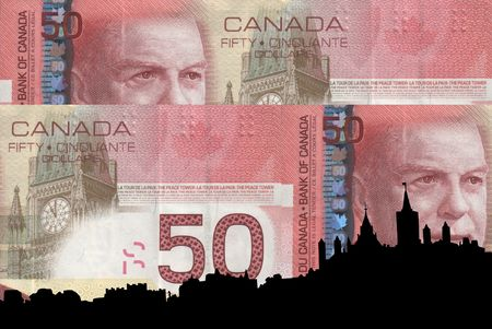 Ottawa Skyline against Canadian 50 dollar note photo