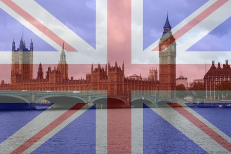 palace of Westminster and British Flag photo