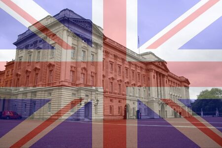 beefeater: Buckingham Palace and British Flag