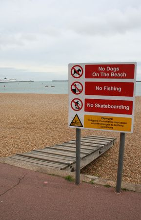 beach rules sign Dover England photo