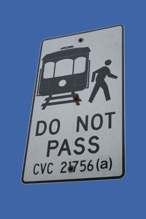 exiting: Do not pass passengers exiting cable car Stock Photo