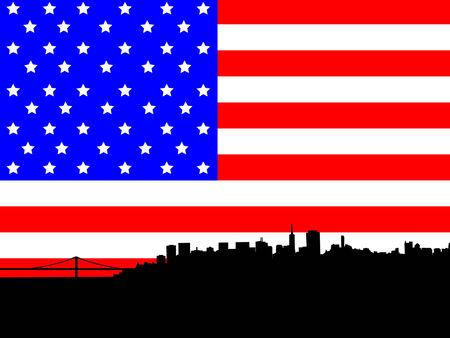 San Francisco skyline against American Flag Vector