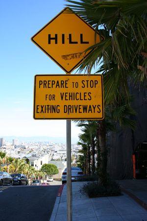 steep: steep hill sign San Francisco